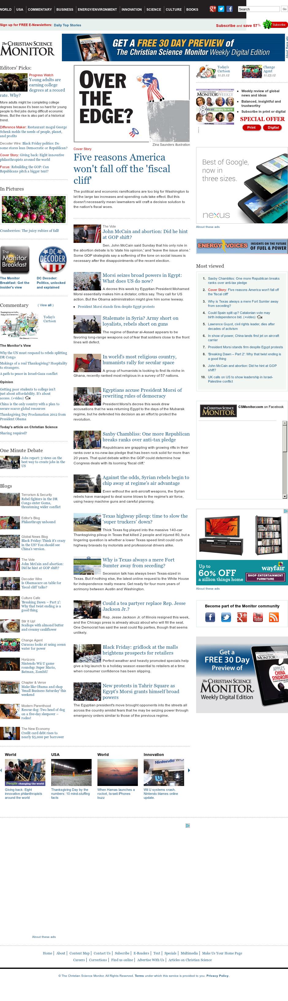 The Christian Science Monitor at Monday Nov. 26, 2012, 5:04 a.m. UTC