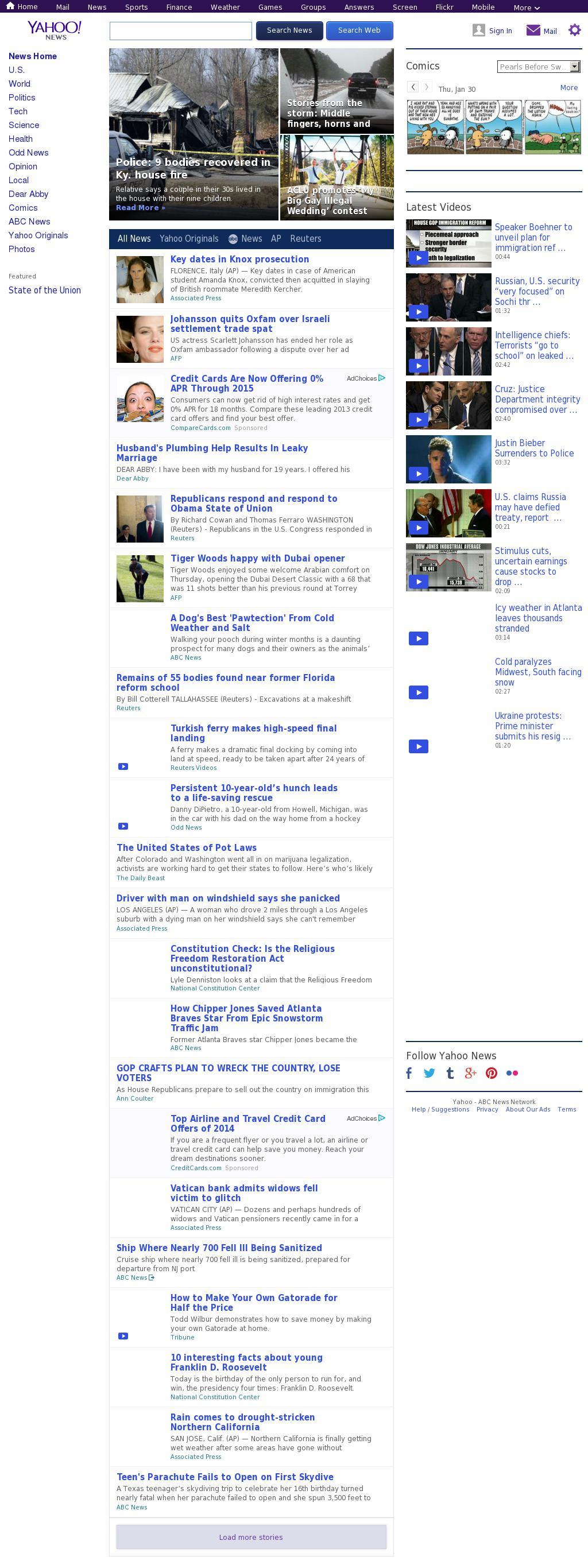 Yahoo! News at Thursday Jan. 30, 2014, 7:24 p.m. UTC
