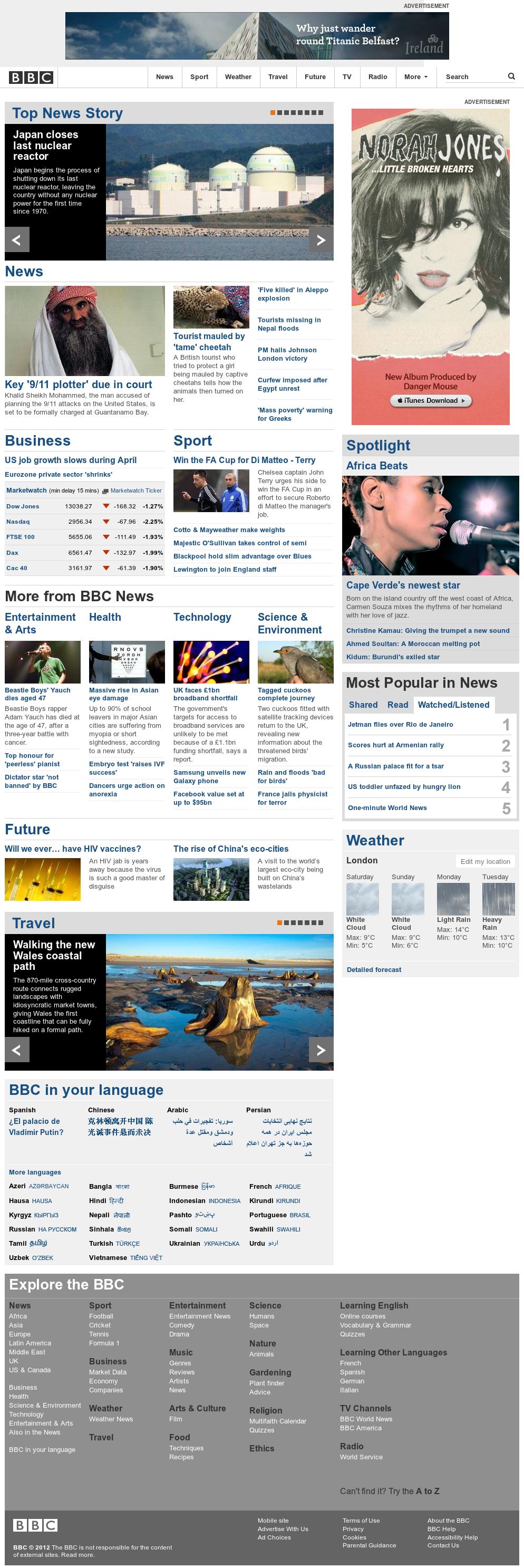 BBC at Saturday May 5, 2012, 11 a.m. UTC