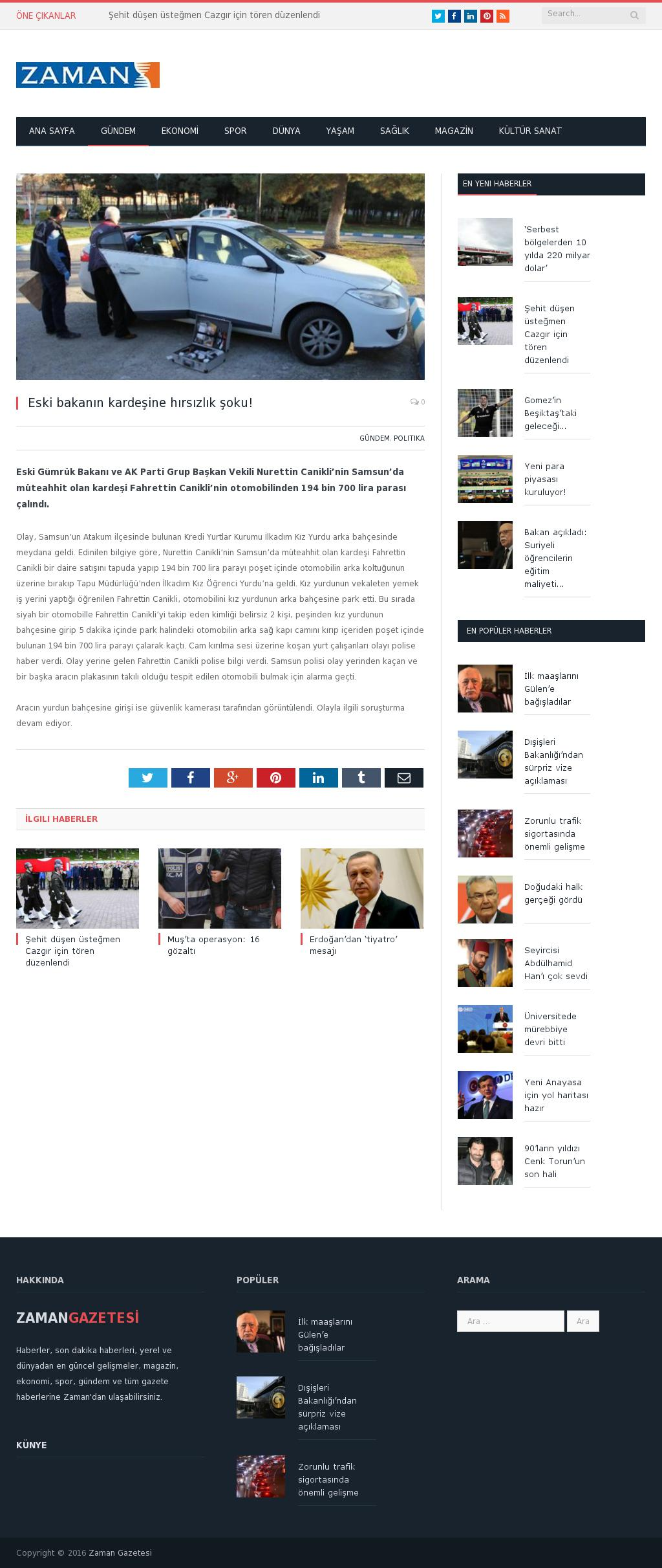 Zaman Online at Sunday March 27, 2016, 9:23 a.m. UTC