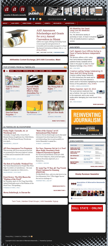 Association of Alternative Newsmedia at Tuesday April 23, 2013, 1 a.m. UTC