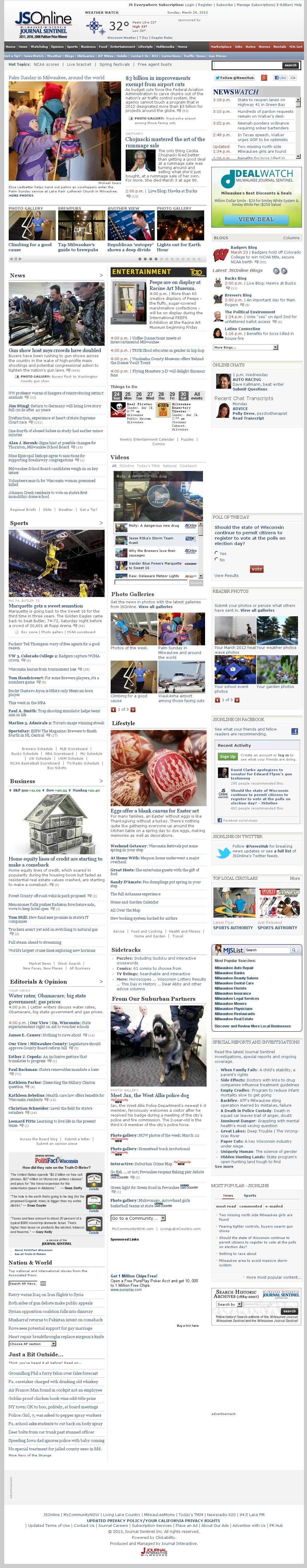 Milwaukee Journal Sentinel at Sunday March 24, 2013, 9:25 p.m. UTC
