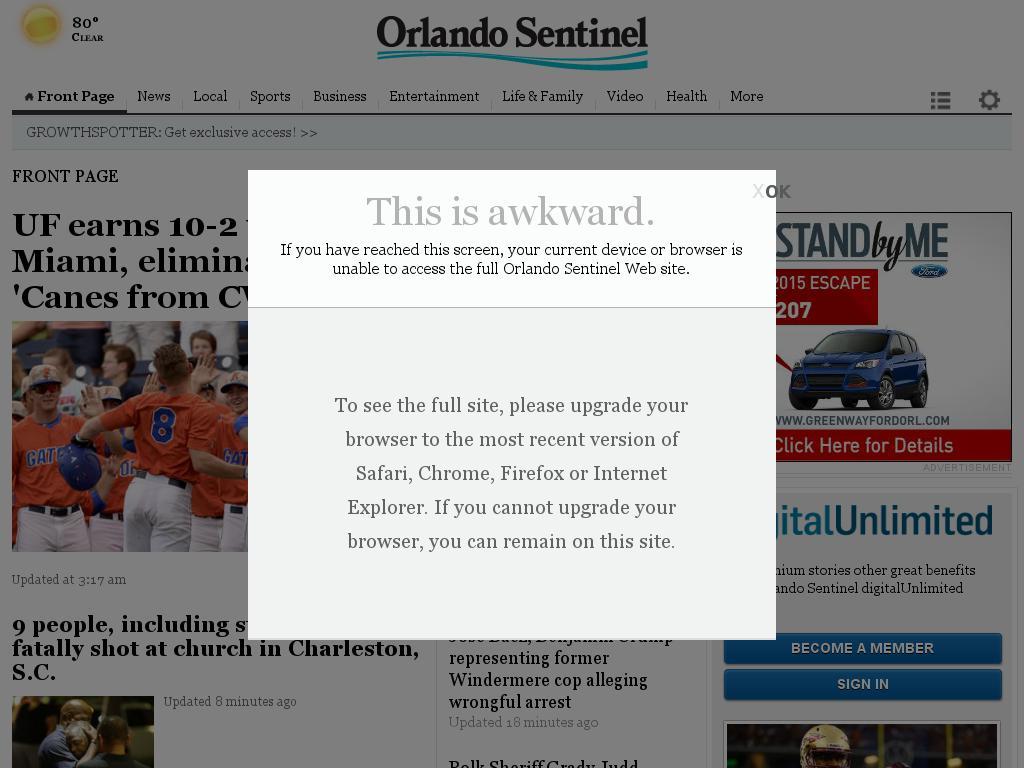 Orlando Sentinel at Thursday June 18, 2015, 12:21 p.m. UTC