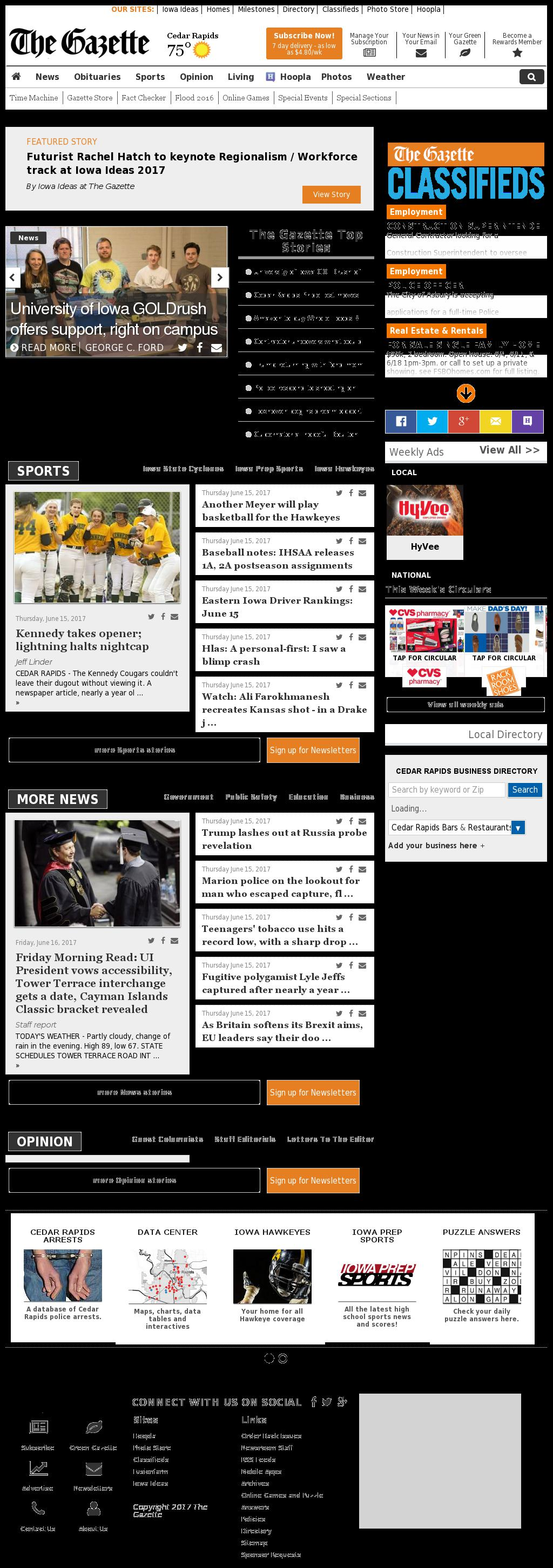 The (Cedar Rapids) Gazette at Friday June 16, 2017, 3:09 p.m. UTC