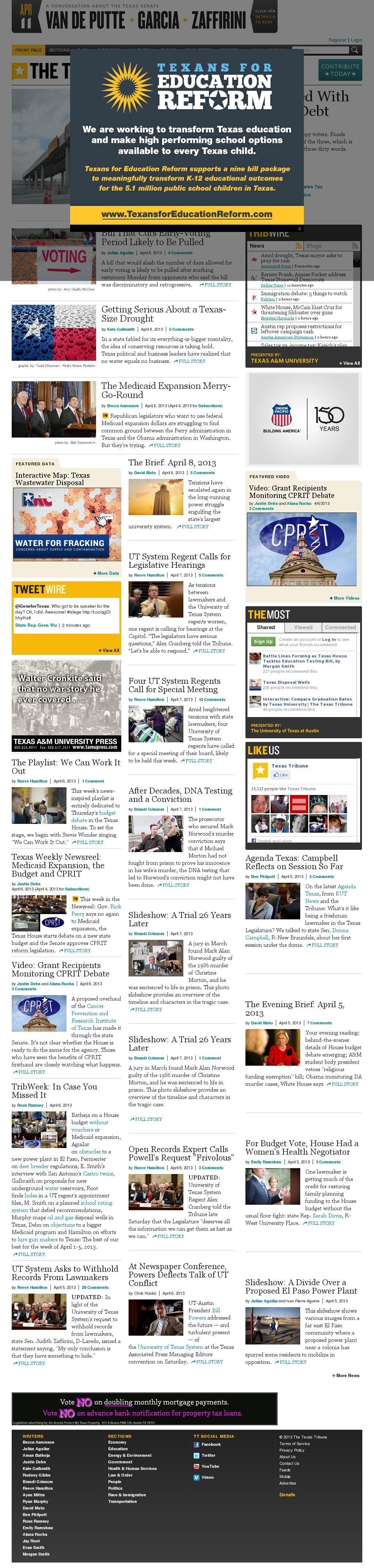The Texas Tribune at Monday April 8, 2013, 8:38 p.m. UTC