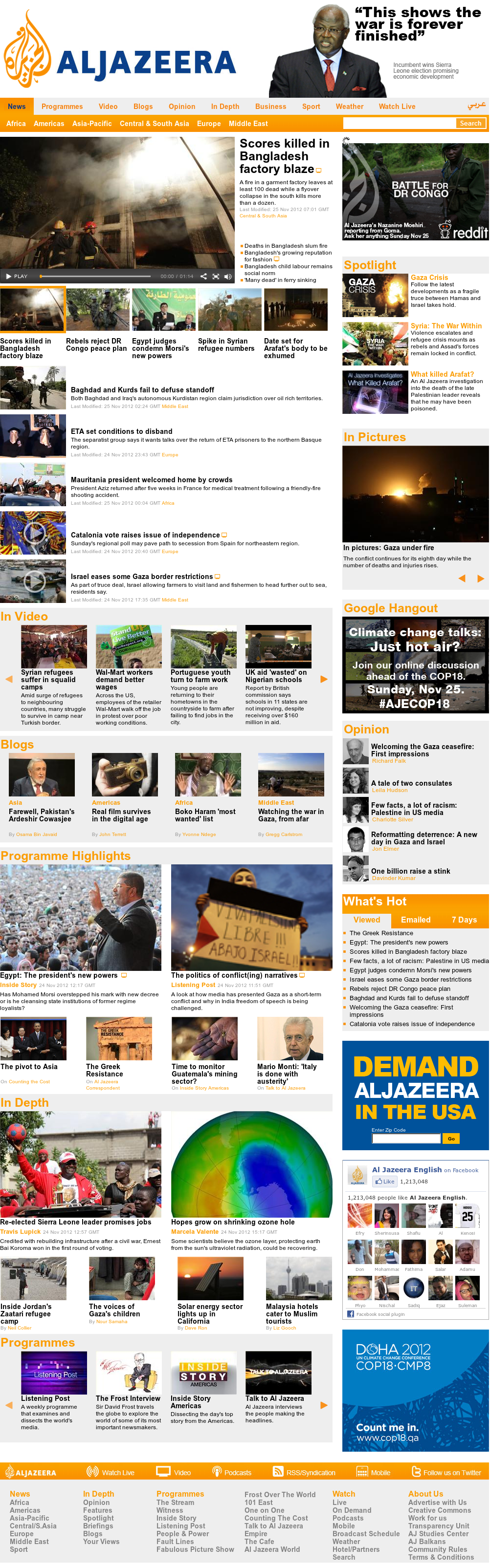 Al Jazeera (English) at Sunday Nov. 25, 2012, 7:16 a.m. UTC