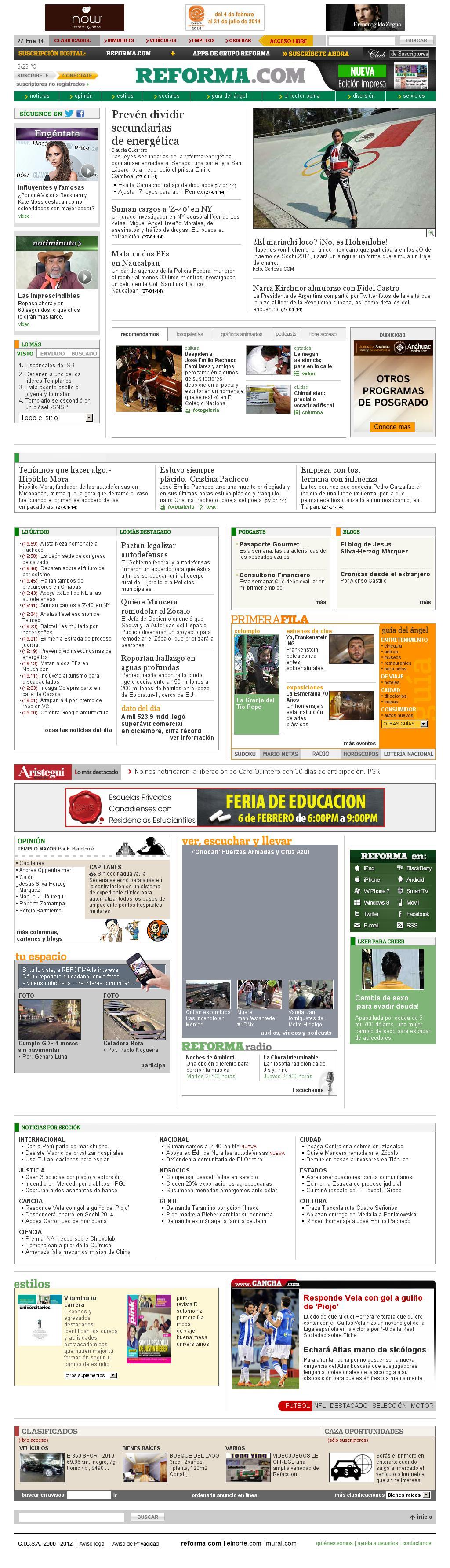 Reforma.com at Tuesday Jan. 28, 2014, 2:20 a.m. UTC