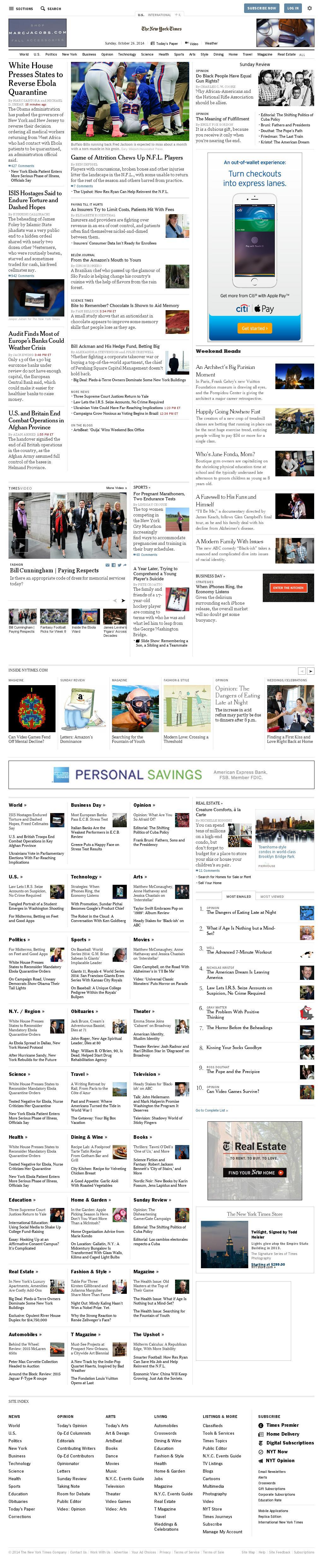 The New York Times at Sunday Oct. 26, 2014, 9:11 p.m. UTC