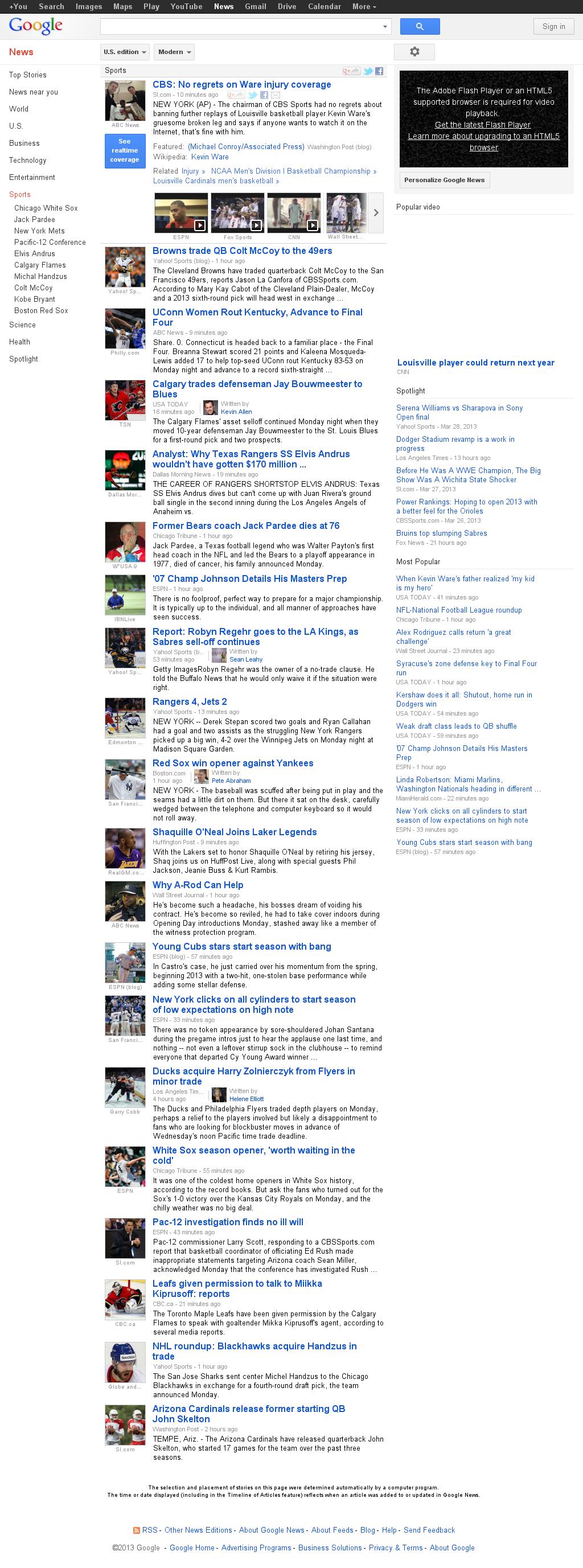 Google News: Sports at Tuesday April 2, 2013, 2:08 a.m. UTC